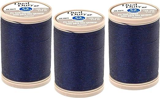 Coats /& Clark Dual Duty XP Heavy Thread 125 Yards Navy S950-4900 3-Pack