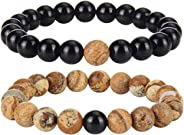 Cadiaon Bracelets for Lovers Couples Matching Gift 8mm Bead Stone (2 Piece Set) Couples Gifts