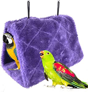 Winter Warm Bird Nest House Shed Hut Hanging Hammock Finch Cage Plush Fluffy Birds Hut Hideaway for Hamster Parrot Macaw Budgies Eclectus Parakeet Cockatiels Cockatoo Lovebird
