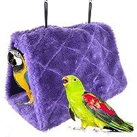 Winter Warm Bird Nest House Shed Hut Hanging Hammock Finch Cage Plush Fluffy Birds Hut Hideaway for Hamster Parrot Macaw Budgies Eclectus Parakeet Cockatiels Cockatoo Lovebird (S, Purple)