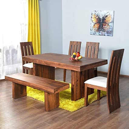 Awesome Js Home Decor Sheesham Wood 6 Seater Dining Table Set With 4 Chairs And 1 Bench Natural Teak Finish Gmtry Best Dining Table And Chair Ideas Images Gmtryco