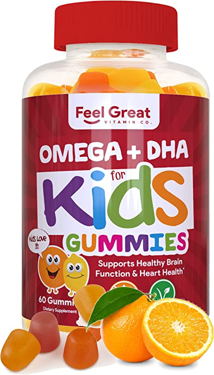 Feel Great Vitamin Co. Complete DHA Gummies for Kids   with Omega 3 6 9 + DHA, Vitamin C   Supports Healthy Brain Function, Vision & Heart Health   Gluten Free, Vegetarian & Non-GMO   60 Gummies