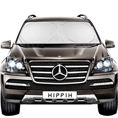 HIPPIH Decor Car Windshield Sun Shade with 2 Ears - Auto Universal Car Sunshade to Keep Your Vehicle Cool, Blocks UV Rays Sun Visor Protector, Fits Windshields of Various Size (Large 63 x31 inches): Automotive