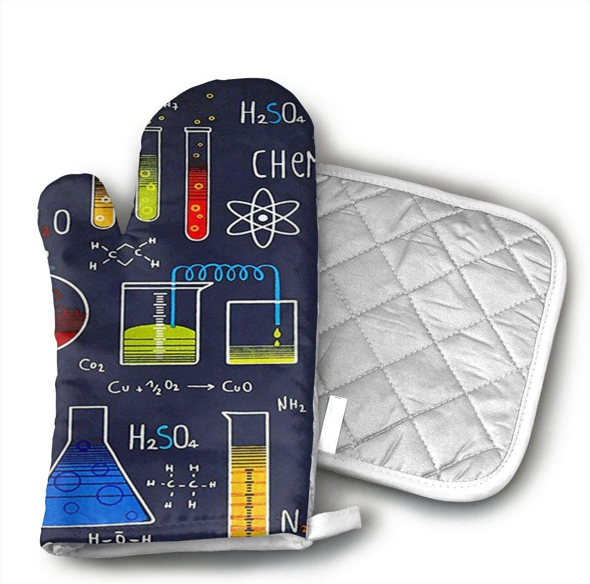 Wiqo9 Geek Chic Large Allover Navy Oven Mitts and Pot Holders Kitchen Mitten Cooking Gloves,Cooking, Baking, BBQ.