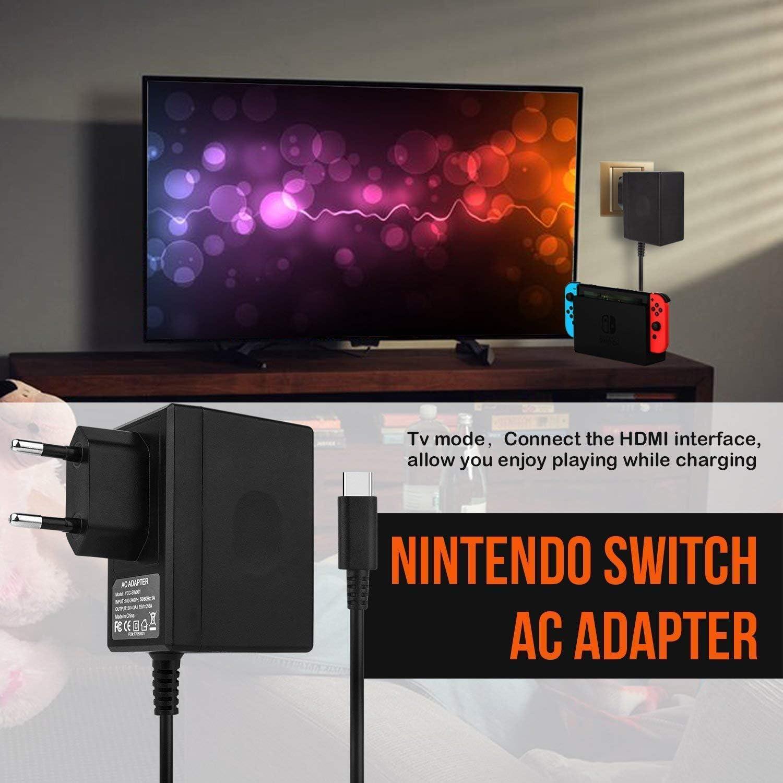 Cargador de interruptor de Nintendo, adaptador de CA para cargador rápido de interruptor de Nintendo Adaptador de corriente de CC 15V/2.6A con cable de cargador USB soporte de modo de TV: Amazon.es: