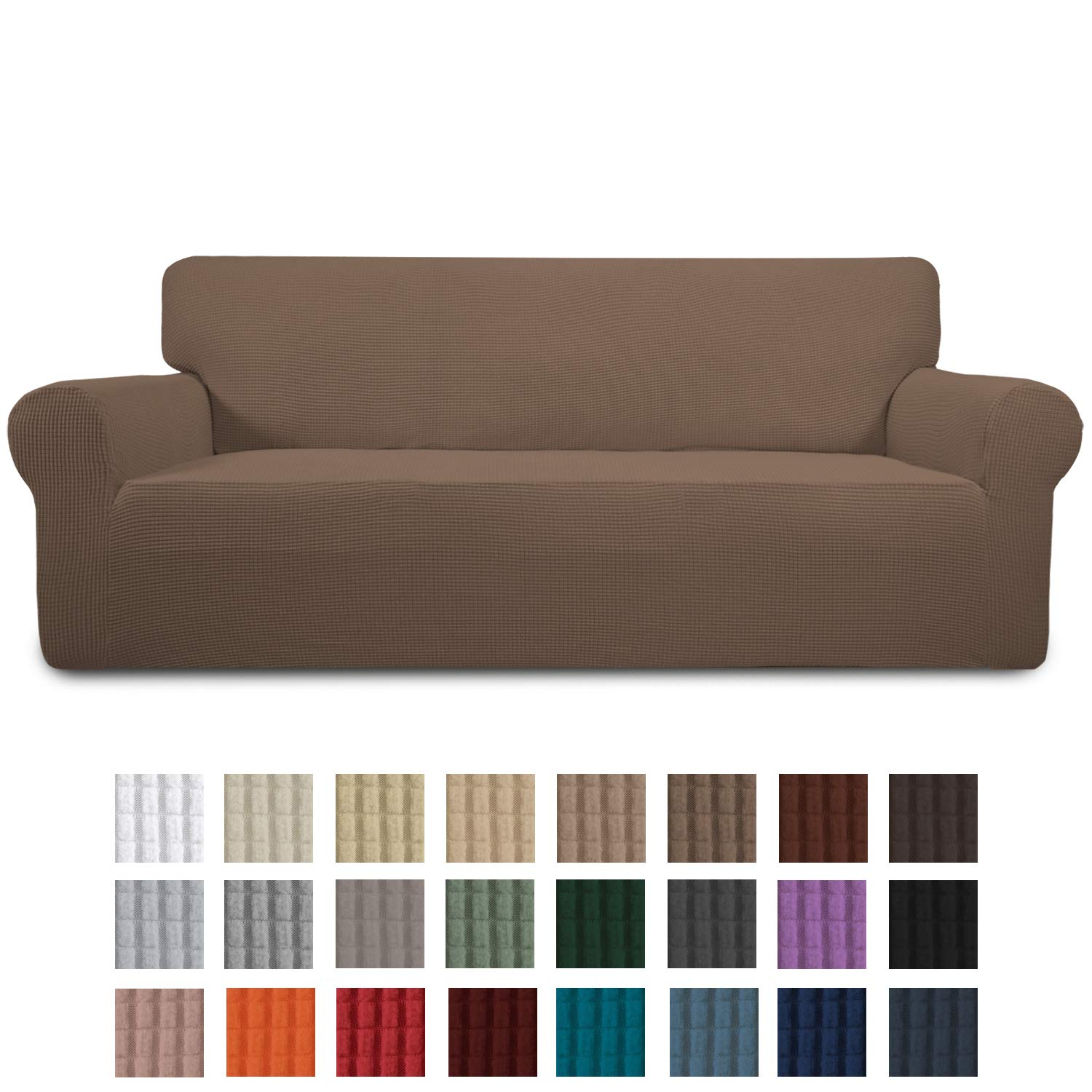 Easy-Going Stretch Sofa Slipcover 1-Piece Sofa Cover Furniture Protector Couch Soft with Elastic Bottom for Kids, Spandex Jacquard Fabric Small Checks(Sofa,Brown)