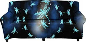 WELLFLYHOM Couch Cover 3 Seater Aqua Dragonfly Print Anti Slip Stretch Sofa Covers for 1 Seater, Pet Dog Cat Proof Slipcover with Elastic Band Furniture Protector Armchair Covers Sofa Cover