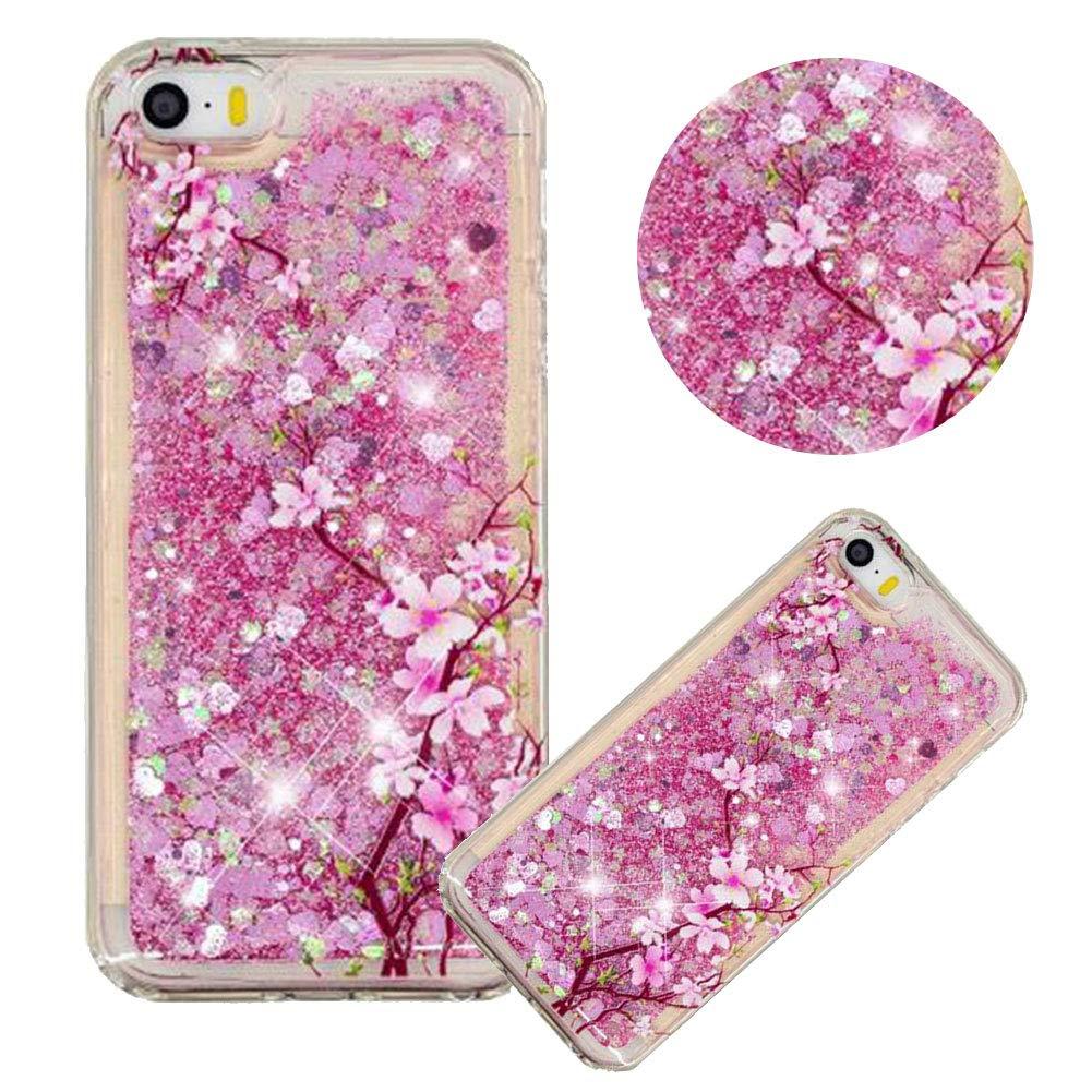 Glitzer H/ülle f/ür iPhone SE,Fl/üssigkeit Silikon HandyH/ülle f/ür iPhone 5S,Moiky Luxuri/ös Mode Flamingo Blume Muster Liebe Herzen Treibsand Pailletten Diamant Flexible Weich Gummi H/ülle