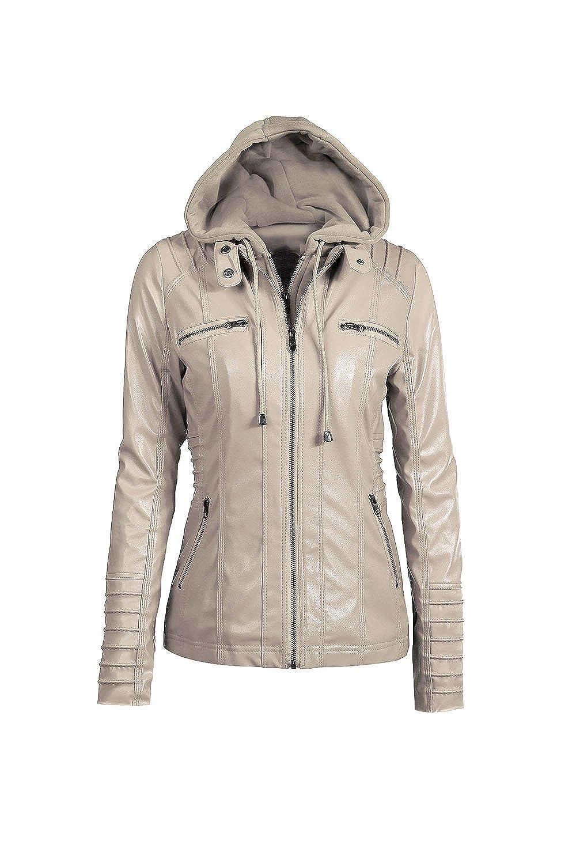 Suvotimo Women Plus Size Zipper Moto Biker Faux Leather Outerwear Coat Jackets Tops CAMEG330