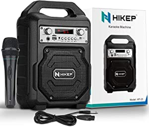 HIKEP Portable Karaoke Machine for Kids & Adults Singing, Rechargeable Bluetooth Speaker with Wired Microphone for Party, Wireless PA Sound System with FM Radio, Audio Recording, TF/USB Supported