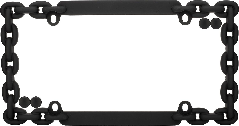 Cruiser Accessories 20500 Chain License Plate Frame Flat Black w//fastener caps