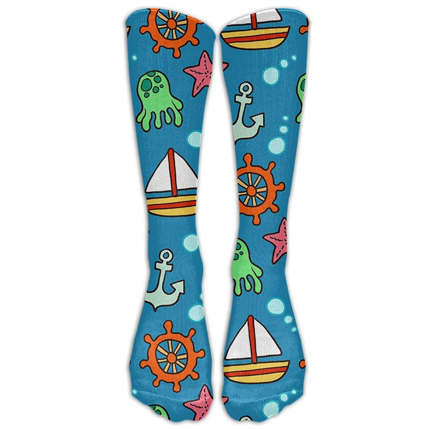 Womens Cartoon Sailing Element Printed Sock Over Knee High Boots Girls Long Socks