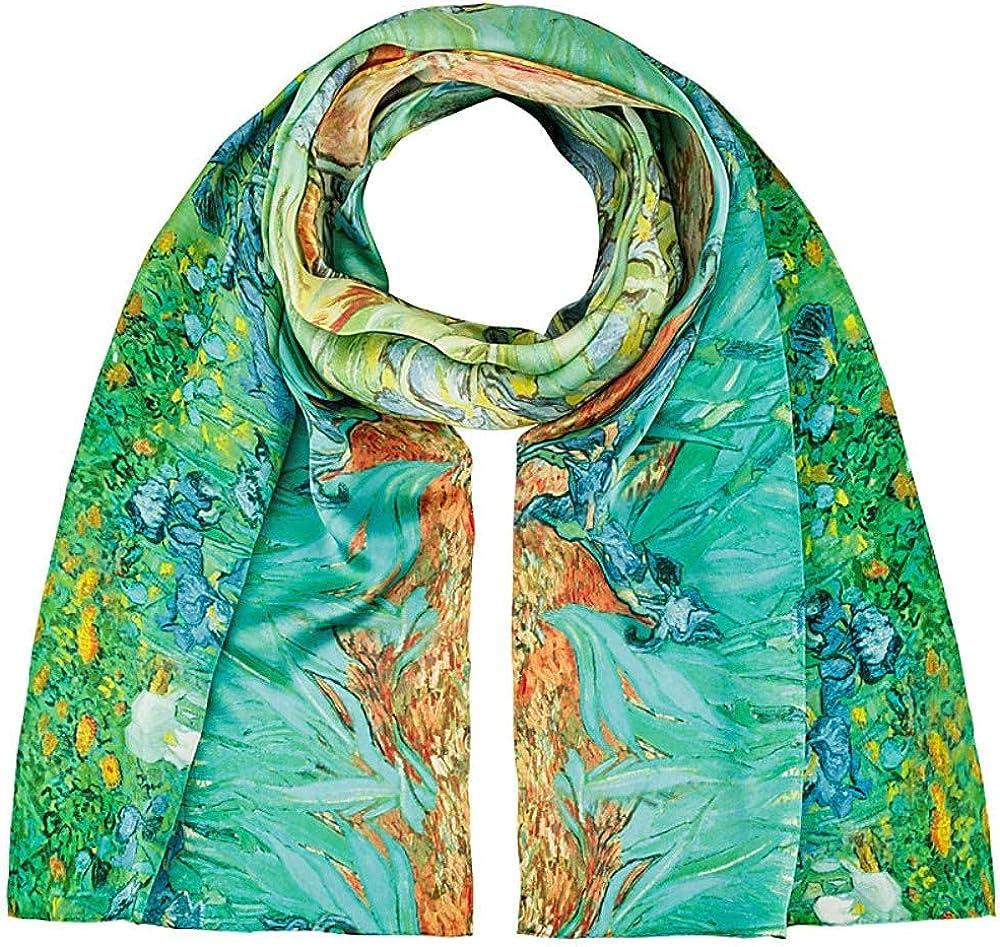 Seidenschal Satin 172 x 42 cm Kunst Damen Motiv Edel van Gogh Sonnenblumen