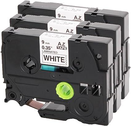 10 Schriftbänder kompatibel für Brother TZE-221 TZ-221 Schwarz auf Weiß 9mm 8m