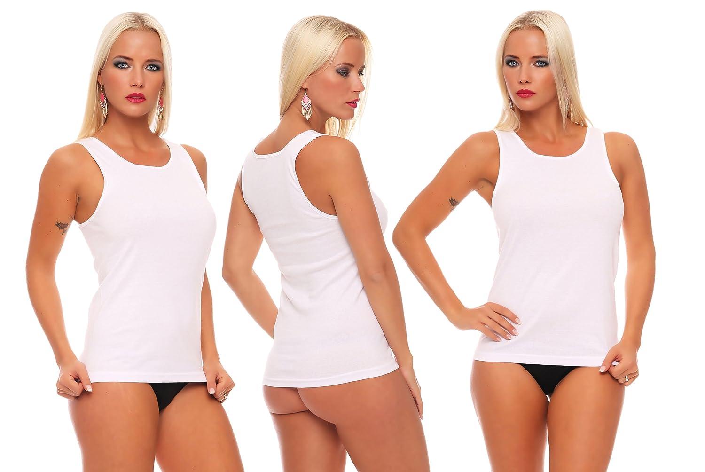 4-er, 8-er oder 16-er Pack Damen-Unterhemd weiß ohne Spitze 100% Baumwolle Feinripp weich und atmungsaktiv Gr. 36/38 bis 56/58 lieferbar