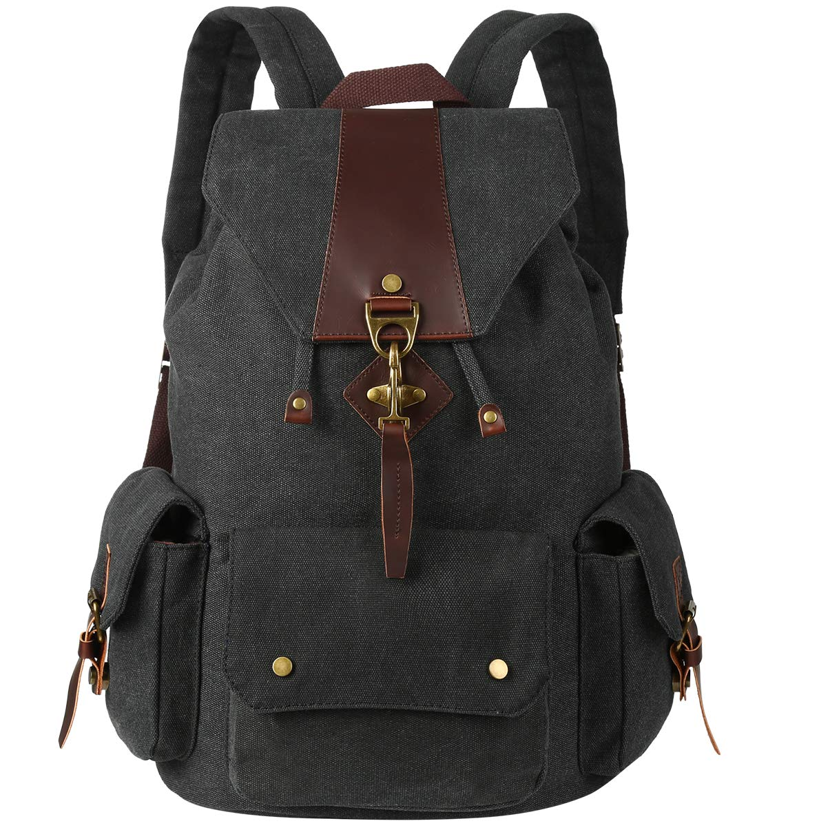 VBG VBIGER Canvas Backpack Vintage Canvas Leather Backpack Casual Bookbag Laptop Backpacks Travel