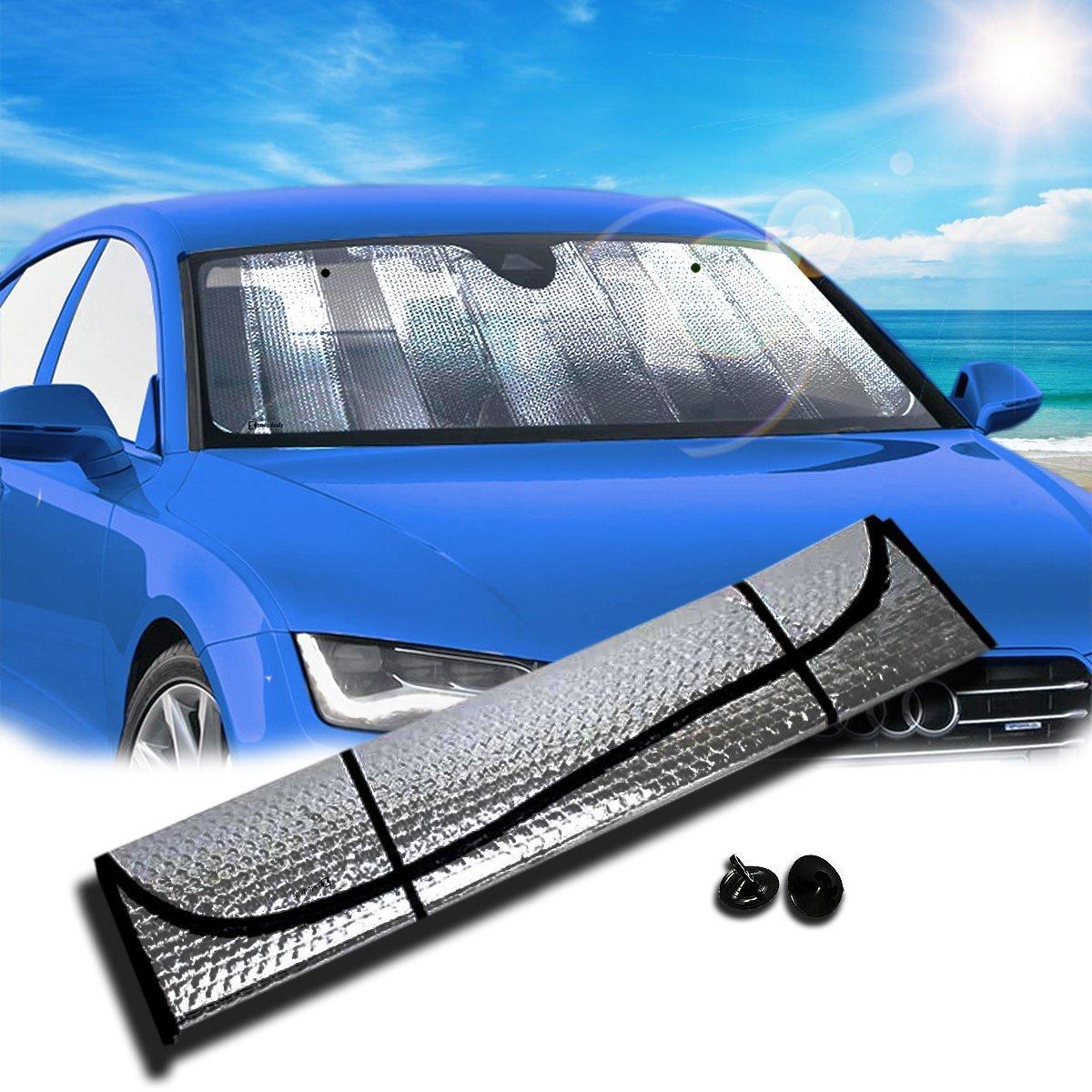Zento Deals Silver Accordion Sunshade Car Windshield Sun Shade Reflector