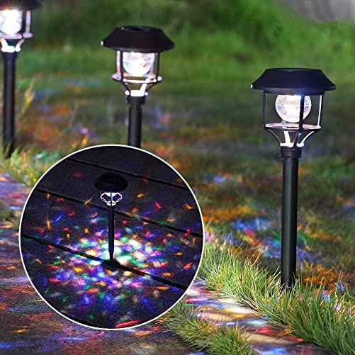 MAGGIFT Tall Solar Garden Lights with Red, Blue, Green LEDs Rotate Ball, Solar Lights Outdoor for Pathway Landscape Decor, 4 Pack, 2 Modes Multicolor Flashing