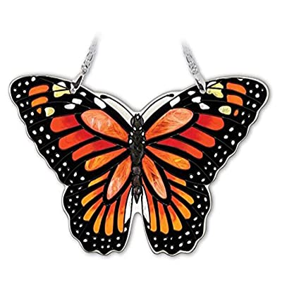 "Amia ""Medium Monarch Butterfly"" Hand-Painted Glass Suncatcher, 5-1/2"" (42321): Home & Kitchen"