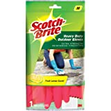 Scotch-Brite Heavy Duty Gloves (with Fresh lemon scent & inner cotton lining for comfort) Medium, Red