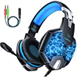 Gaming Headset for Xbox One, DM Noise Cancelling Headphones Over-Ear PS4 Headset with Mic, LED Lights Stereo Surround…