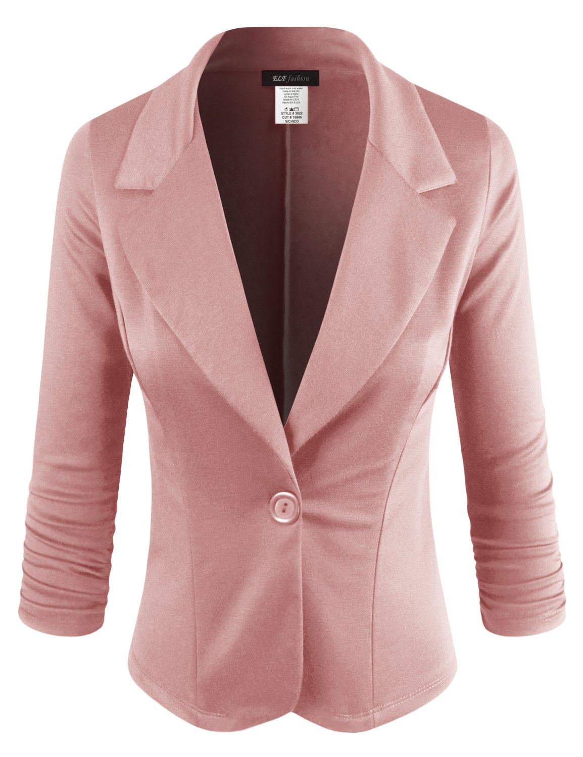 ELF FASHION Women Casual Work Knit Office Blazer Jacket Made in USA (Size S~3XL) Pink 1XL