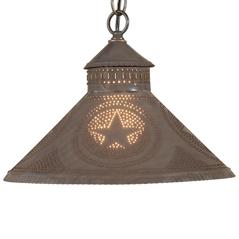 Stockbridge Shade Light with Regular Star in Blackened Tin