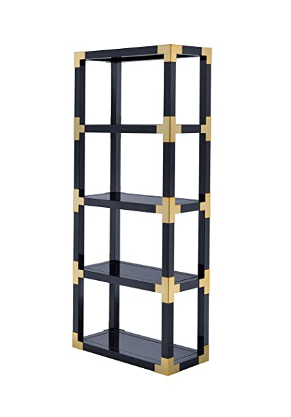 ACME Furniture 92475 Lafty Etagere Bookshelf Gold And Black High Gloss Mirror