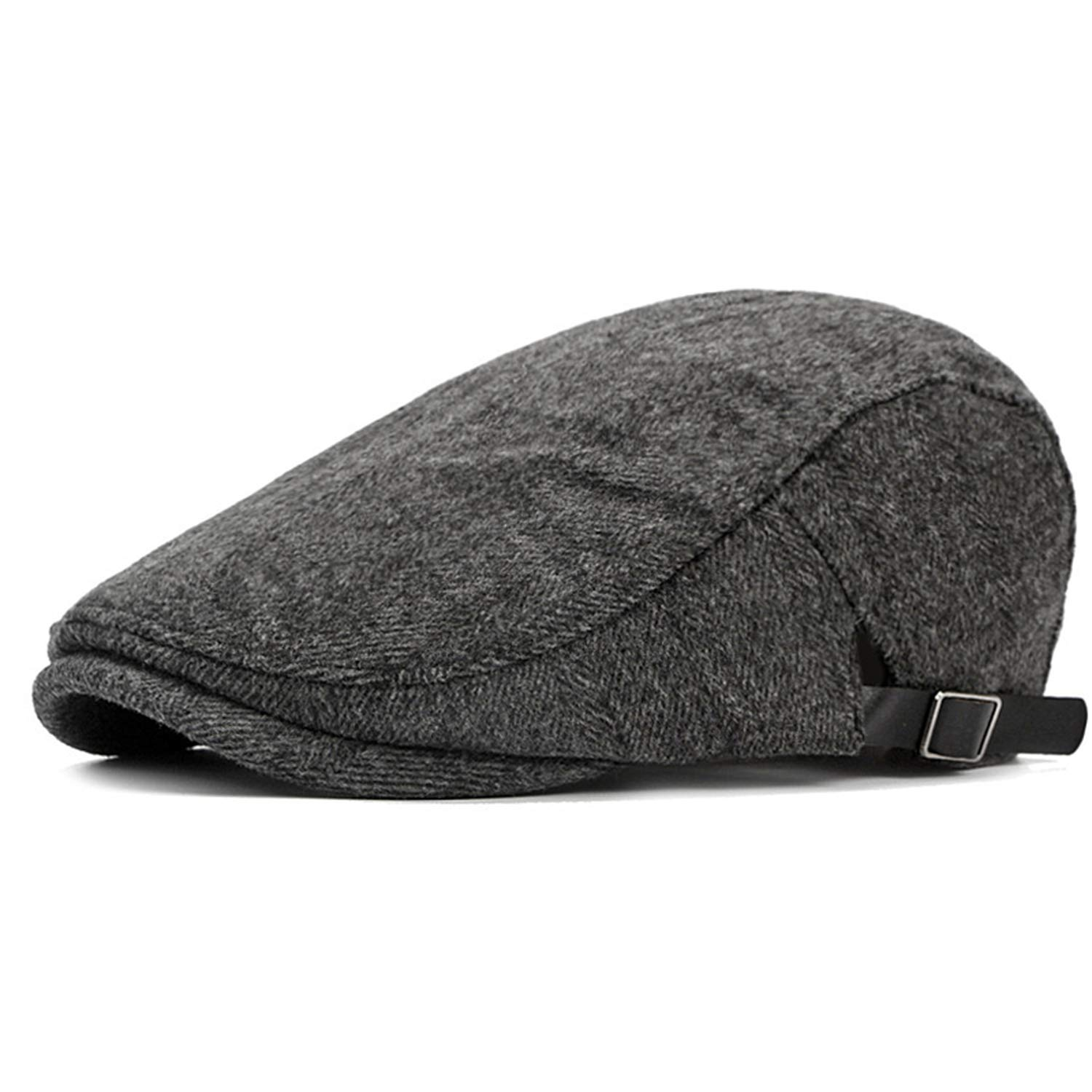 c9773805543aa Mens Beret Hat Winter Wool Male Beret Hats for Men Vintage Flat Cap Dad  Warm Russia Plaid Peaked Hats Black at Amazon Men s Clothing store