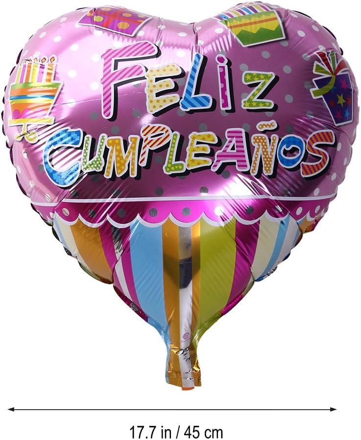 NUOLUX 18 Pulgadas en Forma de corazón española Feliz cumpleaños Foil Mylar Globos para la decoración de la Fiesta de cumpleaños (5): Amazon.es: Juguetes y juegos