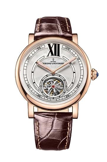 Reloj automático Chrono universel Artist, PVD oro rosa, acero 316L, esfera blanco, correa de cuero, cristal de zafiro: Amazon.es: Relojes