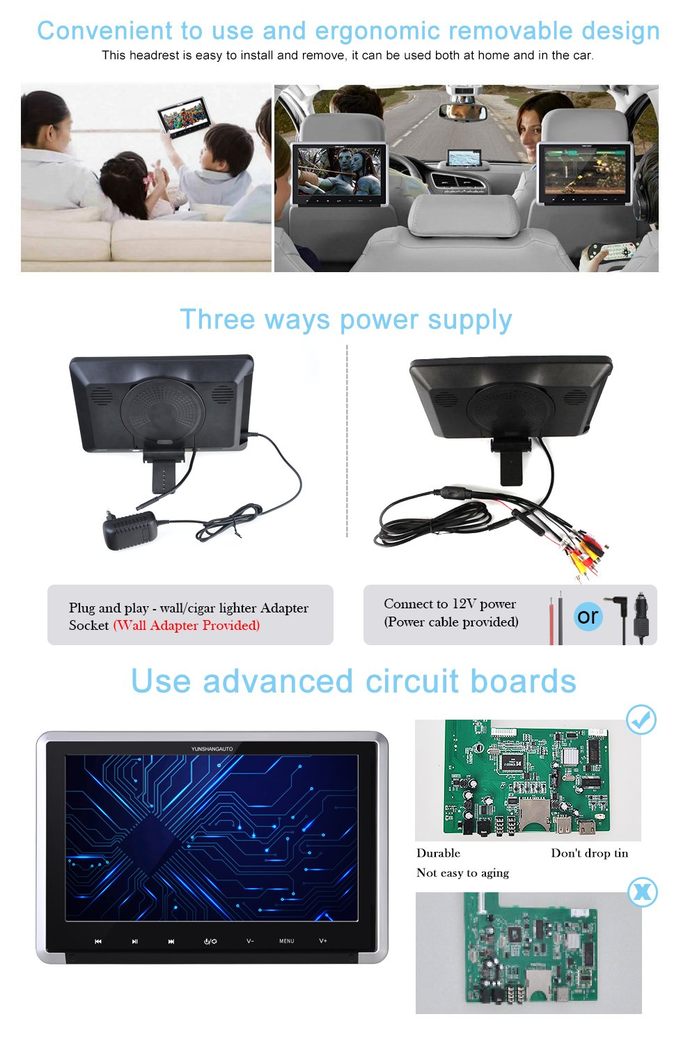 Yunshangauto 101 Inch Hd 1080p Tft Lcd Screen First To Use Removable Printed Circuit Boards Designed For Quick In Carheadrest Dvd Player With Hdmi Port And Remote Control Ir Headphone Am48dvd Car