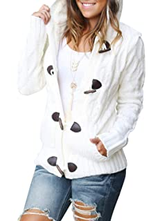 Sidefeel Women Button Up Cardigan Knit Hooded Cable Sweater Coat Outwear 4d4ad4774