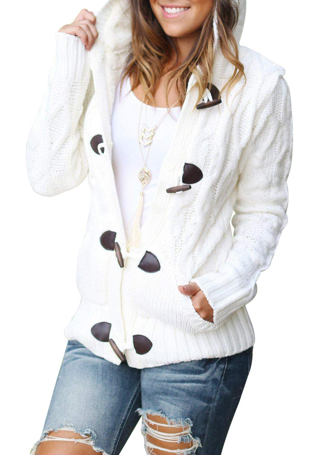 Sidefeel Women Button Up Cardigan Hooded Sweater Coat Outwear with Pockets Small White
