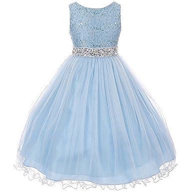 d023f371a75 CrunchyCucumber Little Girls Sleeveless Dress Glitters Sequined Bodice  Double Layer Tulle Skirt Rhinestones Sash Flower Girl
