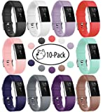 Fundro Compatible for Fitbit Charge 2 Band, Soft Accessory Replacement Wristband Strap Classic Large Small Band with Secure Metal Clasp for Fitbit Charge 2