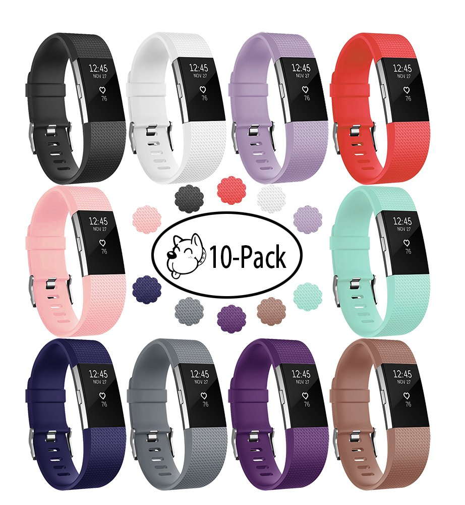 Fitbit Charge 2 Band, Fundro Soft Accessory Replacement Wristband Strap Classic Large Small Band Available in Varied Colors with Secure Metal Clasp for Fitbit Charge 2 (10-Pack, Small)