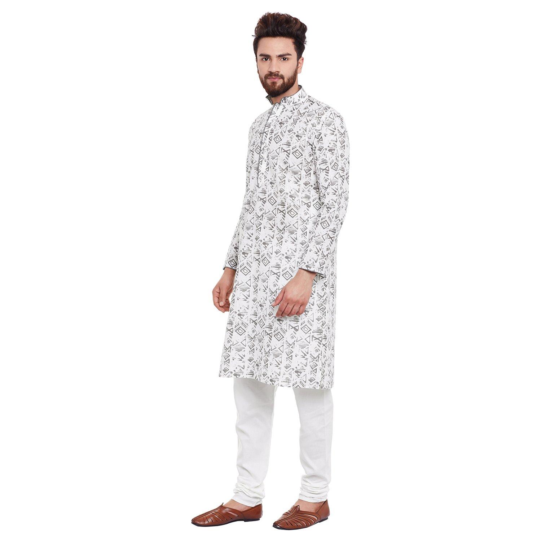 Indian-Traditional-Kurta-Pajama-Set-Shirt-Printed-Men-Kurta-Ethnic-Wear-XS-5XL thumbnail 18