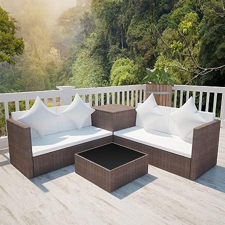 Tidyard Conjunto Muebles de Jardín de Ratán 14 Piezas con 1 Caja de Almacenamiento con 1 Bolsa Impermeable Sofa Jardin Exterior Sofas Exterior Jardin Ratan Conjunto Jardin Ratan Marrón: Amazon.es: Hogar