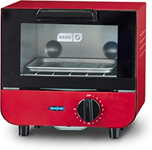Dash DMTO100GBRD04 Mini Toaster Oven Cooker for Bread, Bagels, Cookies, Pizza, Paninis & More with Baking Tray, Rack, Auto Shut Off Feature, Red