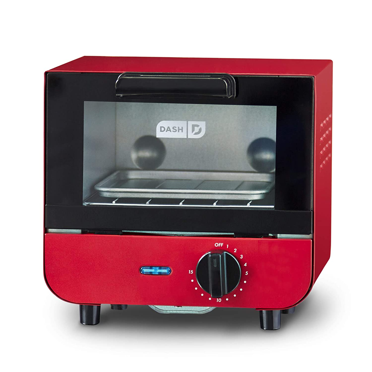 DASH DMTO100GBRD04 Mini Toaster Oven Cooker for Bread, Bagels, Cookies, Pizza, Paninis & More with Baking Tray, Rack + Auto Shut Off Feature Red