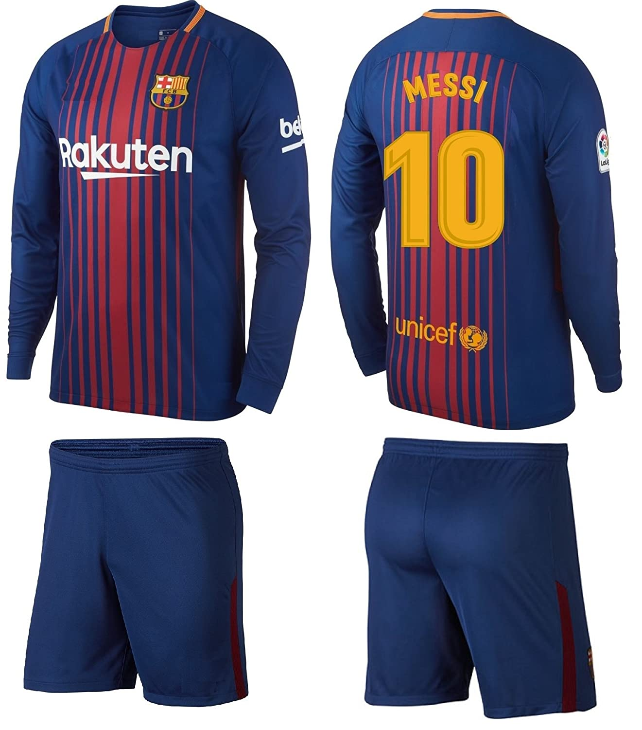fa811ea18 Barcelona Messi Kids  10 Soccer Kit Jersey and Shorts Short Sleeve OR Long  Sleeve All Youth Sizes