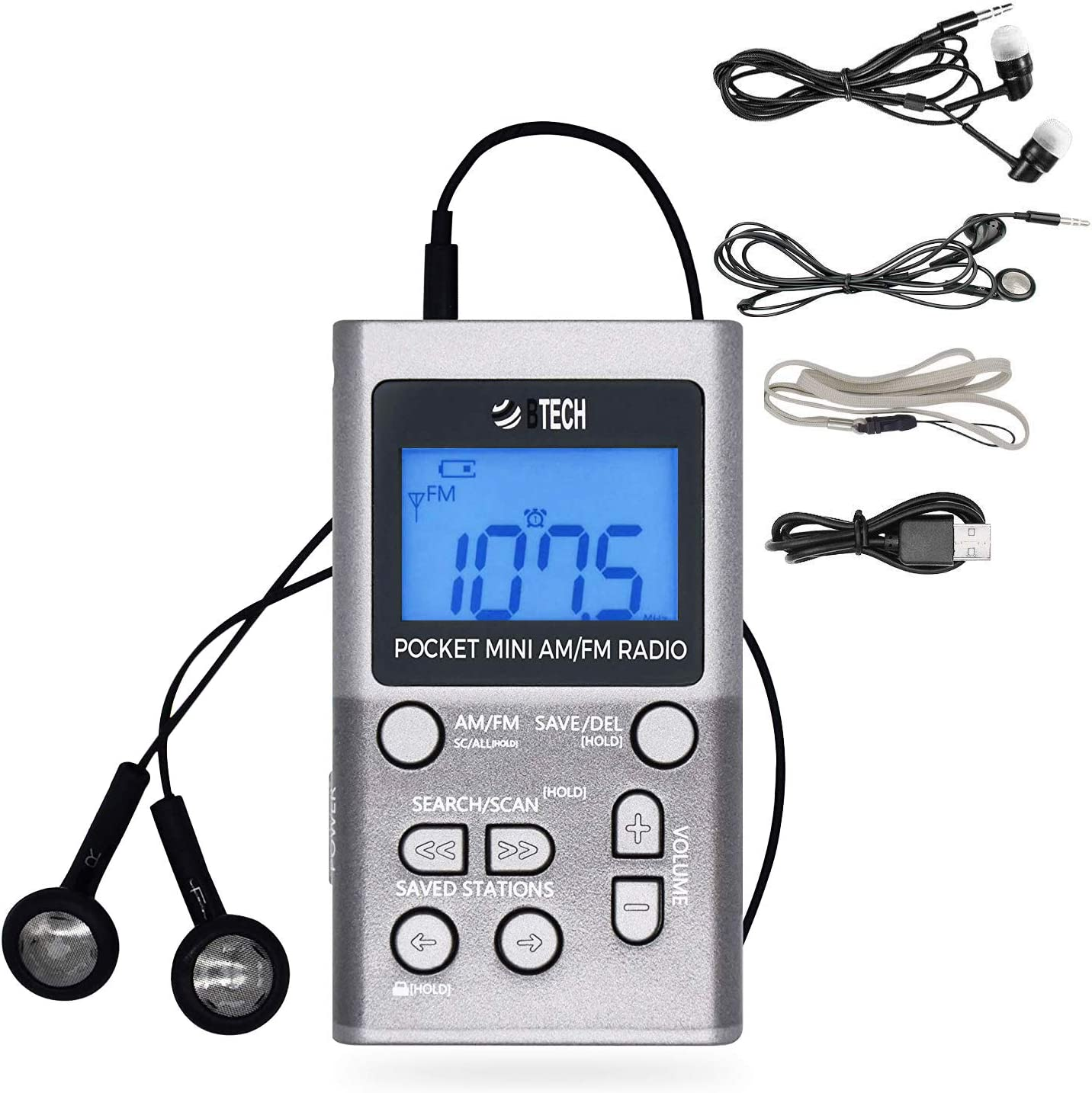 BTECH MPR-AF1 AM FM Personal Radio with Two Types of Stereo Headphones, Clock, Great Reception and Long Battery Life, Mini Pocket Walkman Radio with Headphones (Silver)