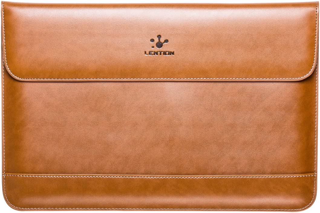 LENTION Split Leather Sleeve Case Compatible 2016-2019 MacBook Pro 13 (Thunderbolt 3), New Mac Air, XPS 13, iPad Pro 12.9 and Ultra Slim Laptop, Magnetic Snaps & Soft Touch (Brown)