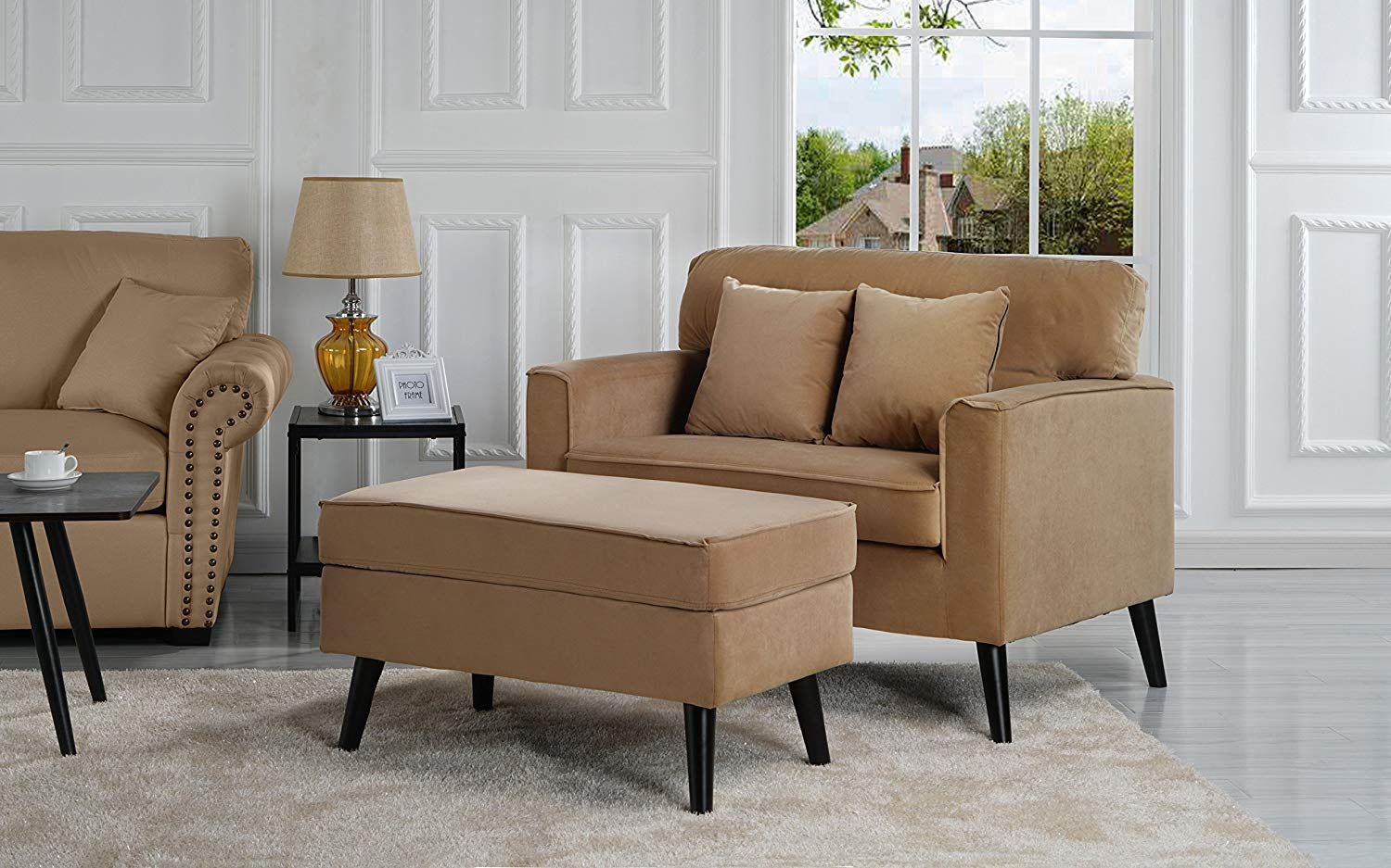 Casa Andrea Milano Modern Velvet Upholstered Lounge Accent Chair - Coffee Brown Single Seater with Storage Ottoman-Coffee Table, Lounger Chaise Chair for Living Room (Brown) by Casa Andrea Milano