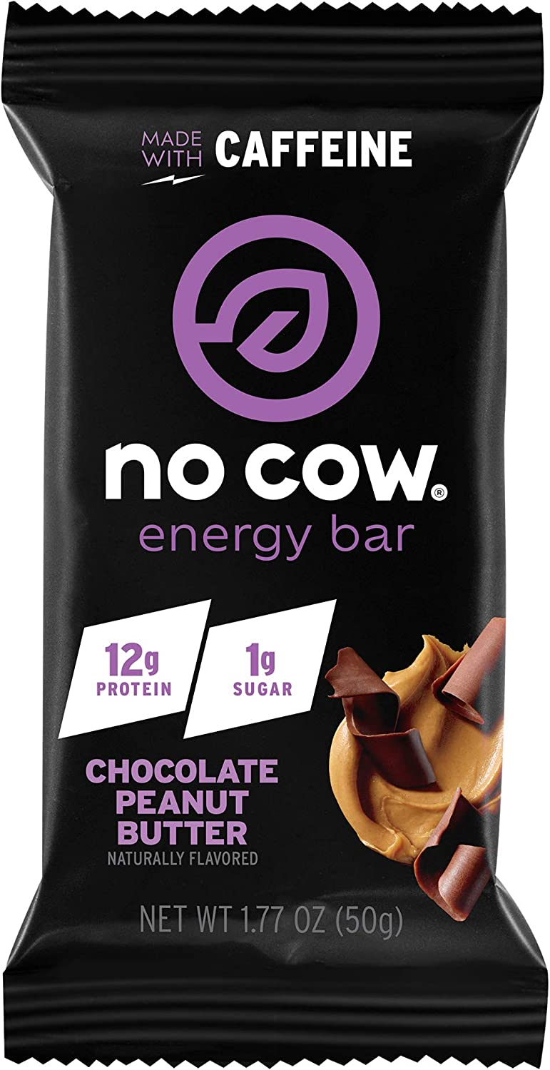 No Cow Energy Protein Bars, Chocolate Peanut Butter, 12g Plant Based Protein, 45mg Natural Caffeine, 1g Sugar, Dairy Free, Vegan, Gluten Free, Low Sugar, Naturally Sweetened, Non-GMO, 12 Pack