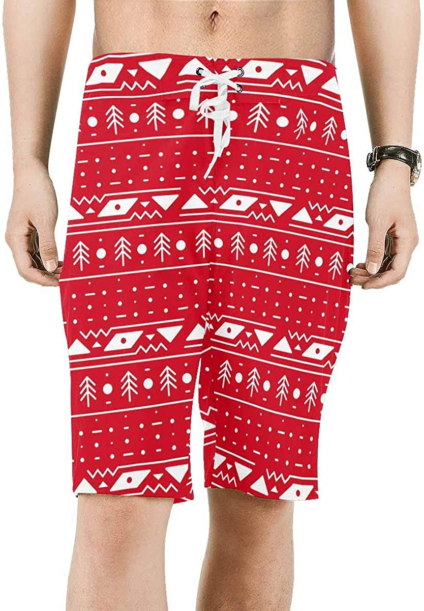 INTERESTPRINT Mens Beach Shorts Winter Christmas Pattern Quick Dry Swim Trunks XS-6XL