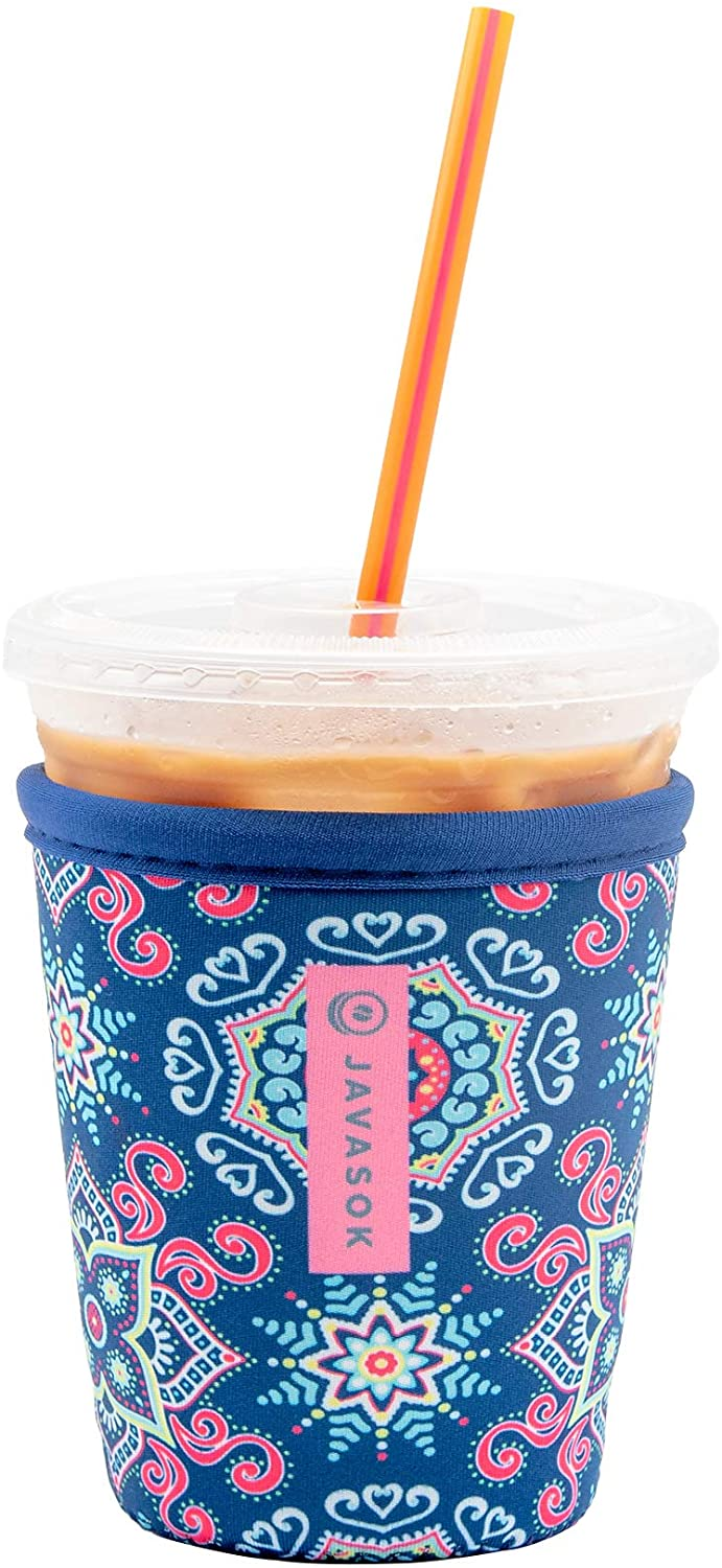 Java Sok Reusable Iced Coffee Cup Insulator Sleeve for Cold Beverages and Neoprene Holder for Starbucks Coffee, McDonalds, Dunkin Donuts, More (Floral Burst, 16-20oz Small)