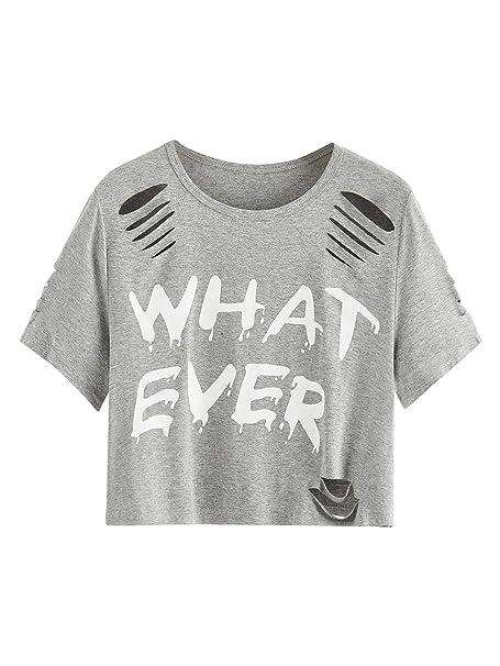 e18d8dd6e85 MAKEMECHIC Women's Summer Short Sleeve Tee Distressed Ripped Crop T-Shirt  Tops Grey XS
