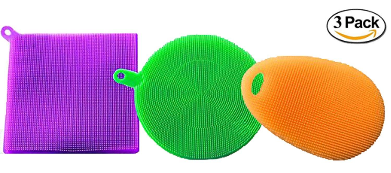 Cleaning Dishwashing Silicon Mildew-Free Sponges Food Grade & BPA Free, 3 Pack